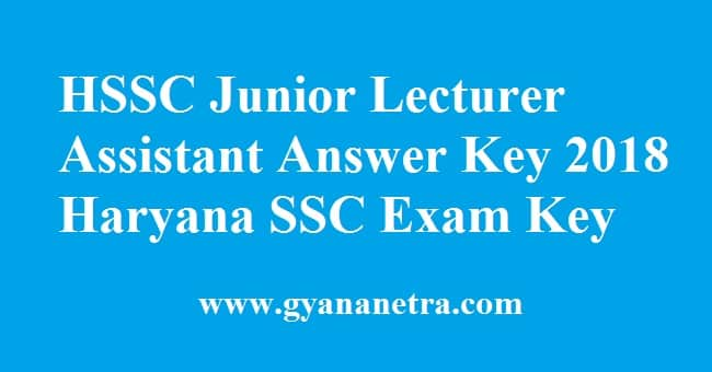 HSSC Junior Lecturer Assistant Answer Key