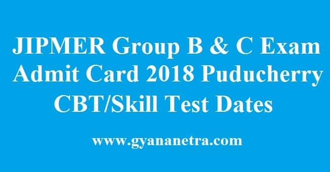 JIPMER Group B & C Admit Card
