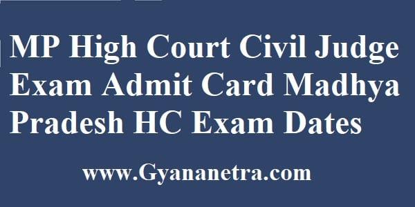 MP High Court Civil Judge Admit Card Exam Dates