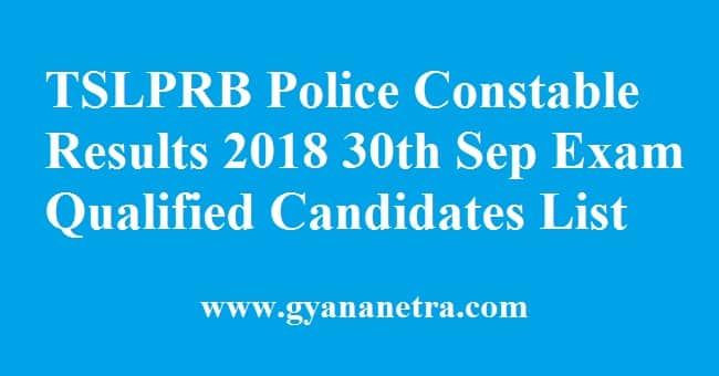 TSLPRB Police Constable Results