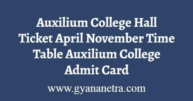 Auxilium College Hall Ticket
