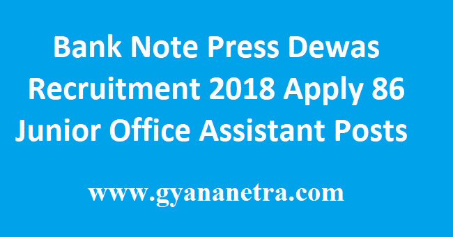 Bank Note Press Dewas Recruitment