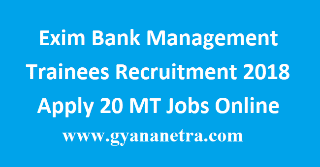 Exim Bank Management Trainees Recruitment