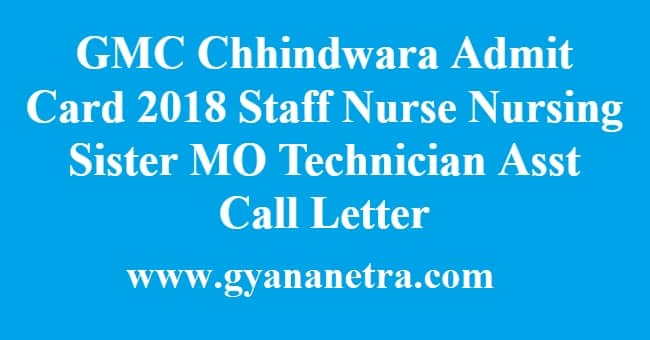 GMC Chhindwara Admit Card