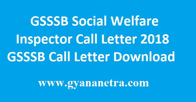 GSSSB Social Welfare Inspector Call Letter