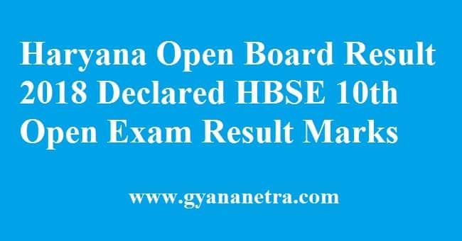 Haryana Open Board Result