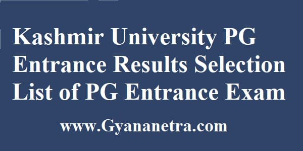 Kashmir University PG Entrance Results Online