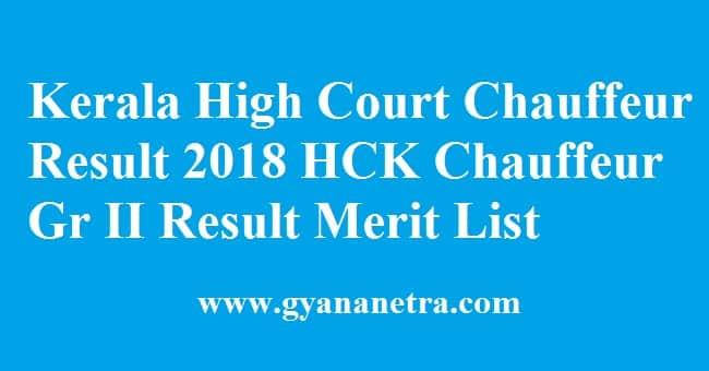 Kerala High Court Chauffeur Result