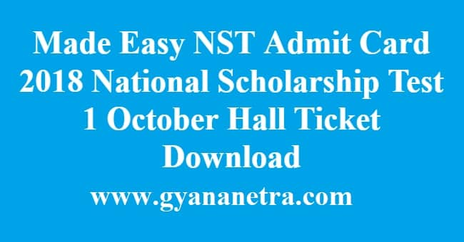 Made Easy NST Admit Card