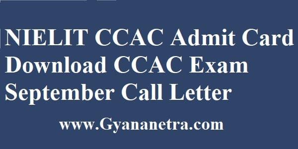 NIELIT CCAC Admit Card Exam Date