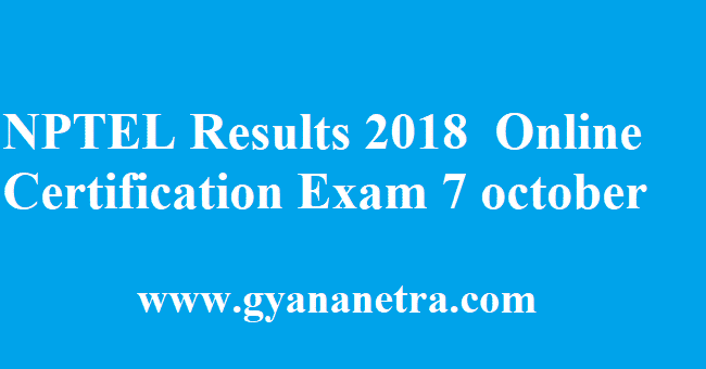 NPTEL Results 2018
