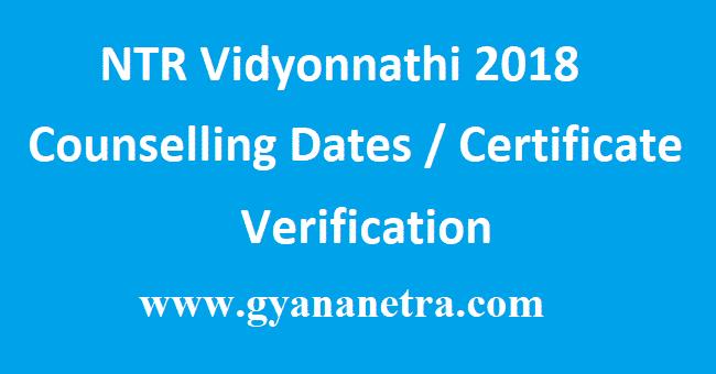 NTR Vidyonnathi 2018 Counselling Dates