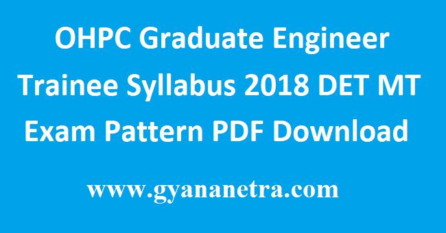 OHPC Graduate Engineer Trainee Syllabus