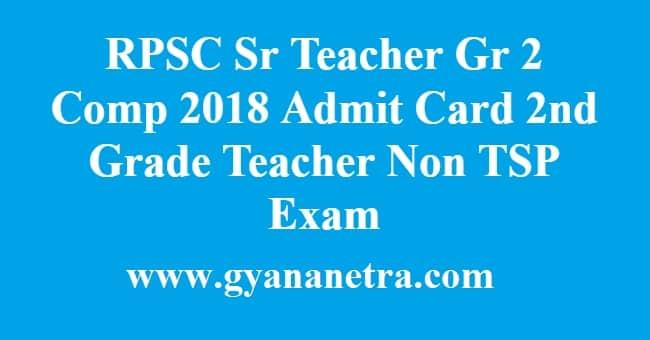 RPSC Sr Teacher Gr 2 Comp 2018 Admit Card