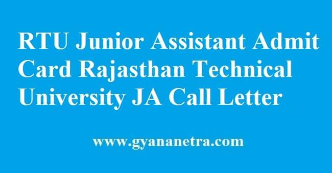 RTU Junior Assistant Admit Card