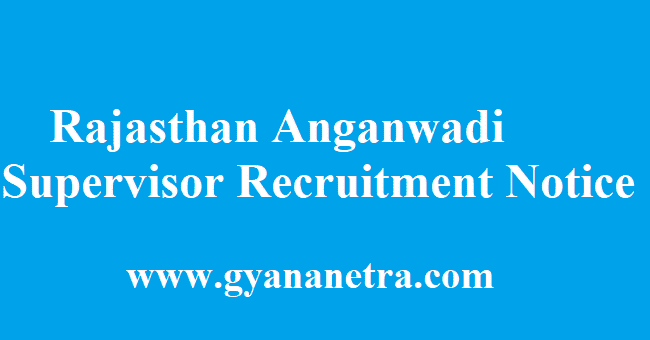 Rajasthan Anganwadi Supervisor Recruitment 2018