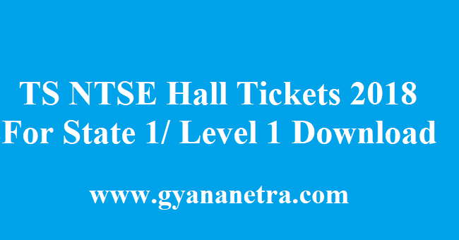 TS NTSE Hall Tickets 2018
