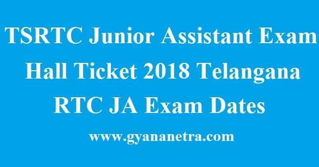 TSRTC Junior Assistant Exam Hall Ticket