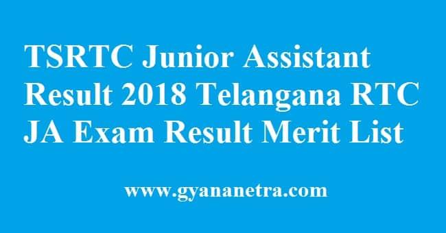 TSRTC Junior Assistant Result