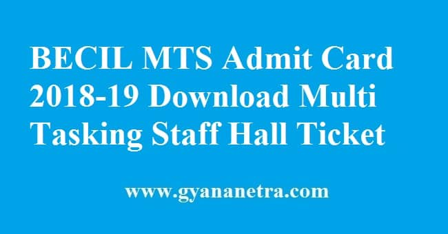 BECIL MTS Admit Card