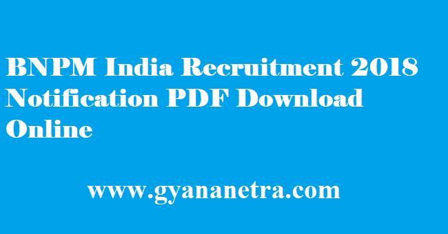BNPM India Recruitment 2018