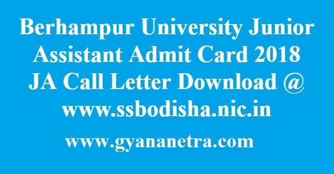Berhampur University Junior Assistant Admit Card