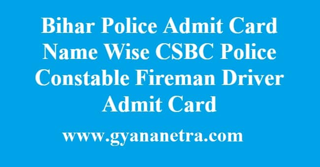 Bihar Police Admit Card Name Wise