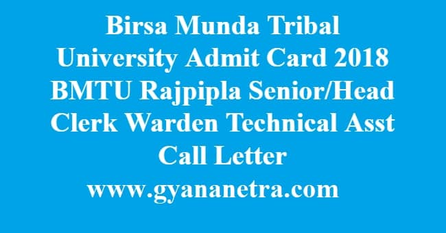 Birsa Munda Tribal University Admit Card
