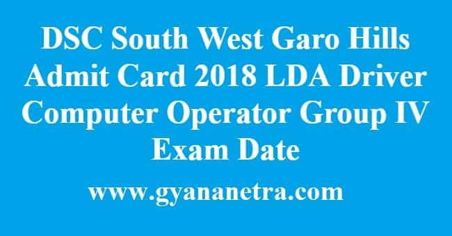 DSC South West Garo Hills Admit Card