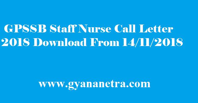 GPSSB Staff Nurse Call Letter 2018