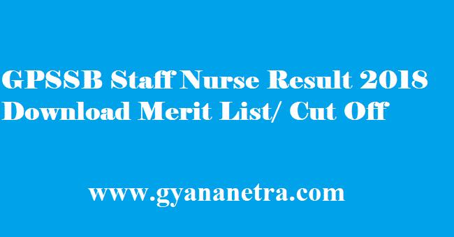 GPSSB Staff Nurse Result 2018