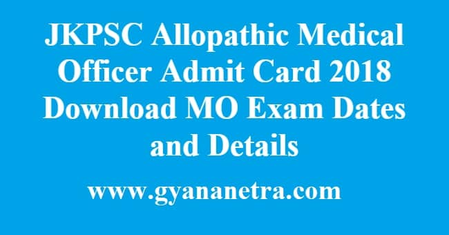 JKPSC Allopathic Medical Officer Admit Card