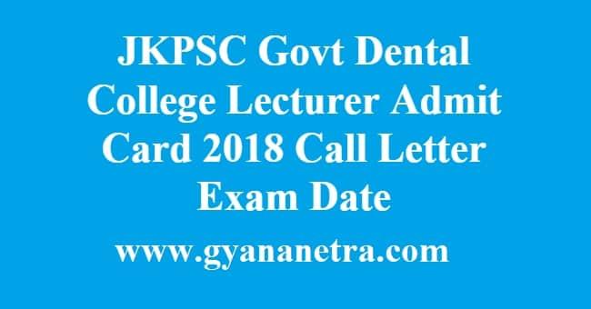 JKPSC Govt Dental College Lecturer Admit Card