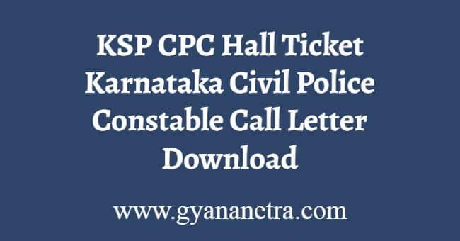 KSP CPC Hall Ticket Download