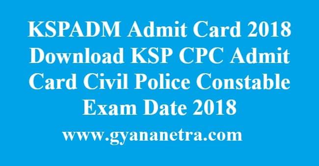 KSPADM Admit Card