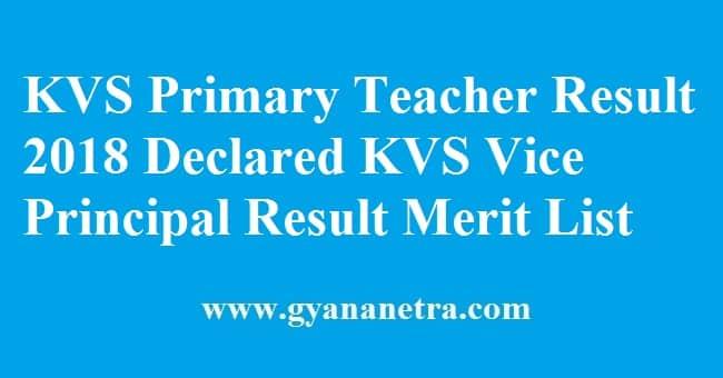 KVS Primary Teacher Result