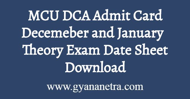 MCU DCA Admit Card Download
