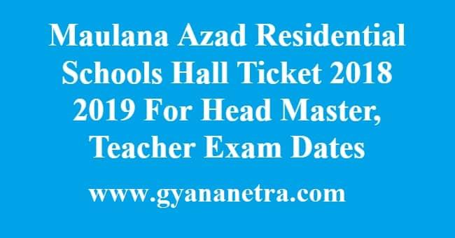 Maulana Azad Residential Schools Hall Ticket