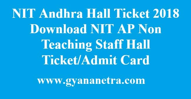 NIT Andhra Hall Ticket 2018