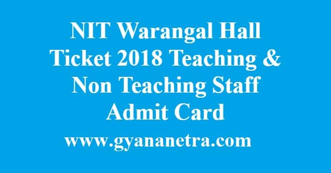 NIT Warangal Hall Ticket