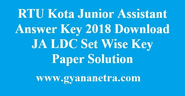 RTU Kota Junior Assistant Answer Key