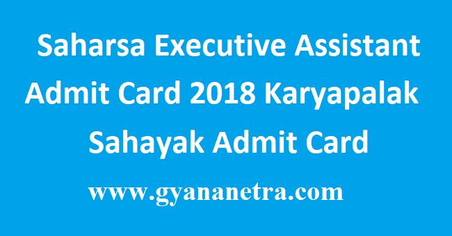 Saharsa Executive Assistant Admit Card