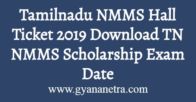 Tamilnadu NMMS Hall Ticket 2019