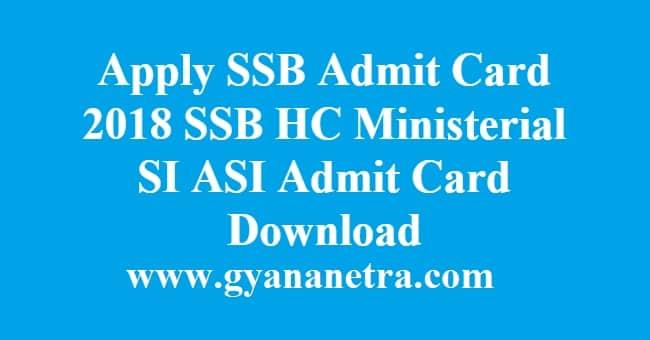 Apply SSB Admit Card