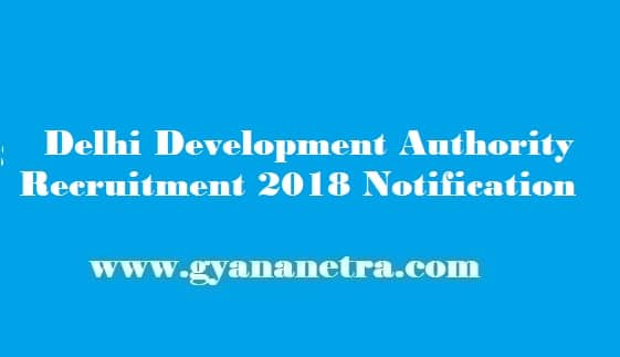 DDA Recruitment 2018