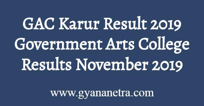 GAC Karur Result 2019