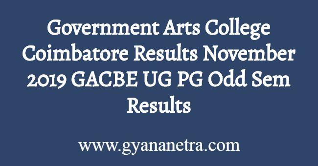 Government Arts College Coimbatore Results