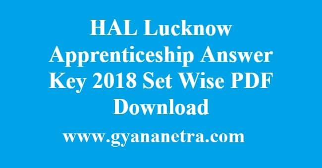 HAL Lucknow Apprenticeship Answer Key
