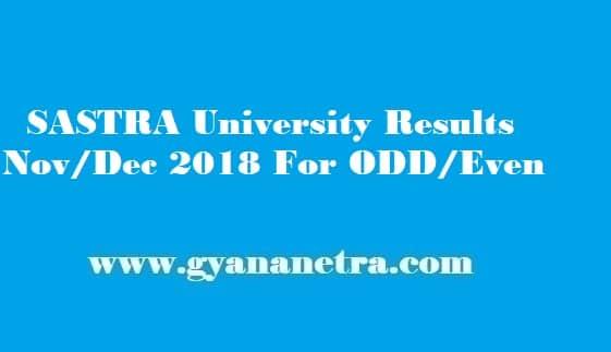 SASTRA University Results 2018