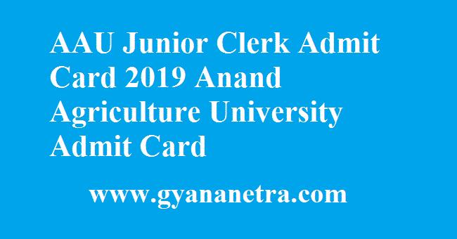 AAU Junior Clerk Admit Card